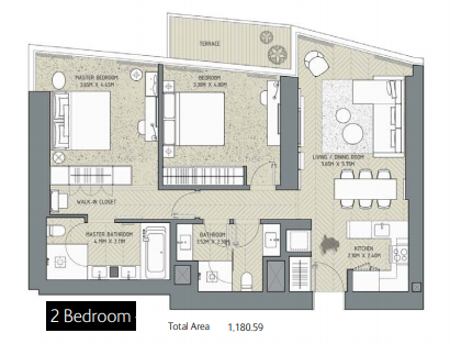 Planning of the apartment 2BR, 1180.59 in The Address Residences Dubai Opera, Dubai