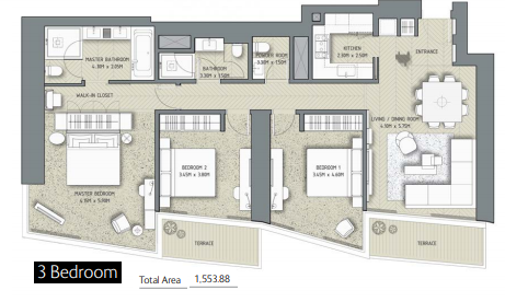 Planning of the apartment 3BR, 1553.88 in The Address Residences Dubai Opera, Dubai