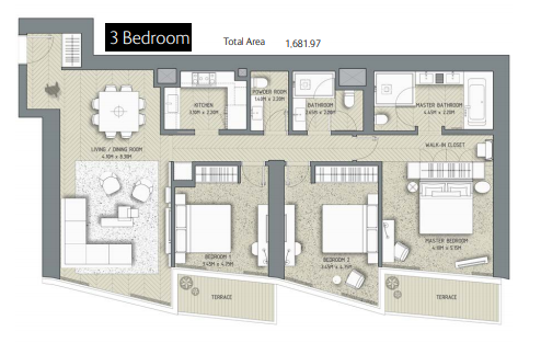 Planning of the apartment 3BR, 1681.97 in The Address Residences Dubai Opera, Dubai