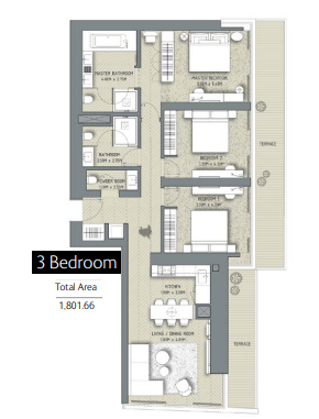 Planning of the apartment 3BR, 1801.66 in The Address Residences Dubai Opera, Dubai