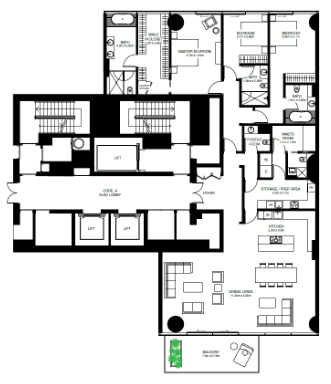 Planning of the apartment 3BR, 3132 in One Palm, Dubai