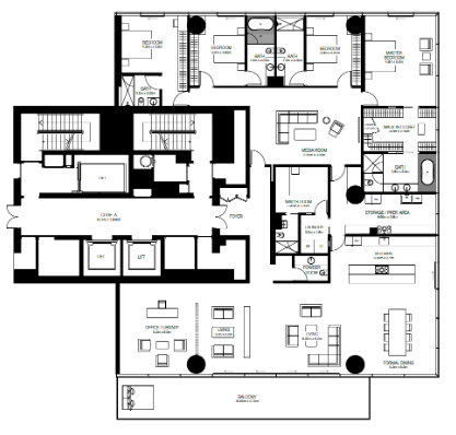 Planning of the apartment 4BR, 5155 in One Palm, Dubai