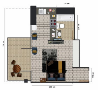 Planning of the apartment 1BR, 525 in The Square Tower, Dubai