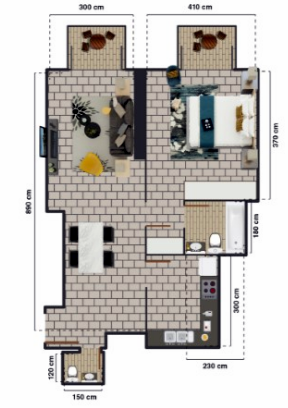 Planning of the apartment 1BR, 780 in The Square Tower, Dubai