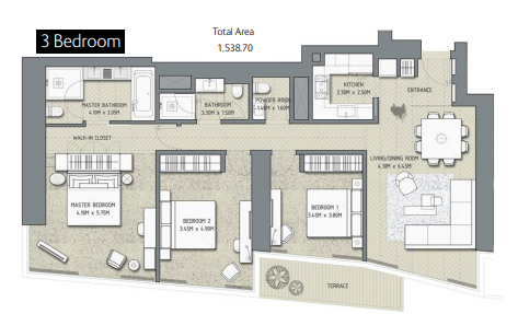 Planning of the apartment 3BR, 1538.7 in The Address Residences Dubai Opera, Dubai