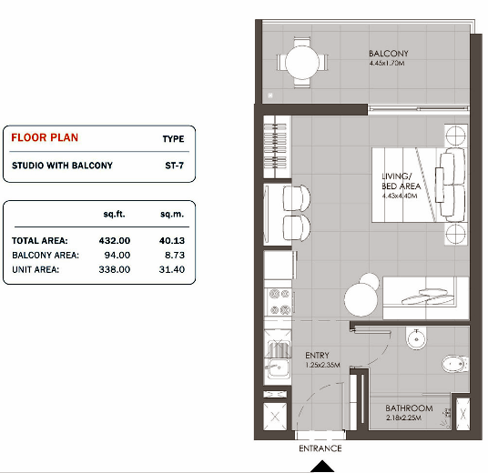 Planning of the apartment Studios, 432 in MAG Eye Apartments, Dubai