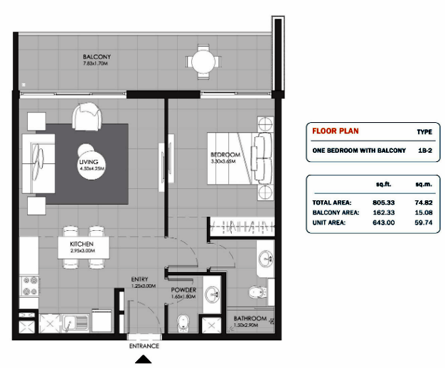 Planning of the apartment Studios, 805.33 in MAG Eye Apartments, Dubai