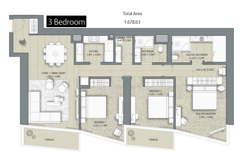 Planning of the apartment 3BR, 1678.83 in The Address Residences Dubai Opera, Dubai