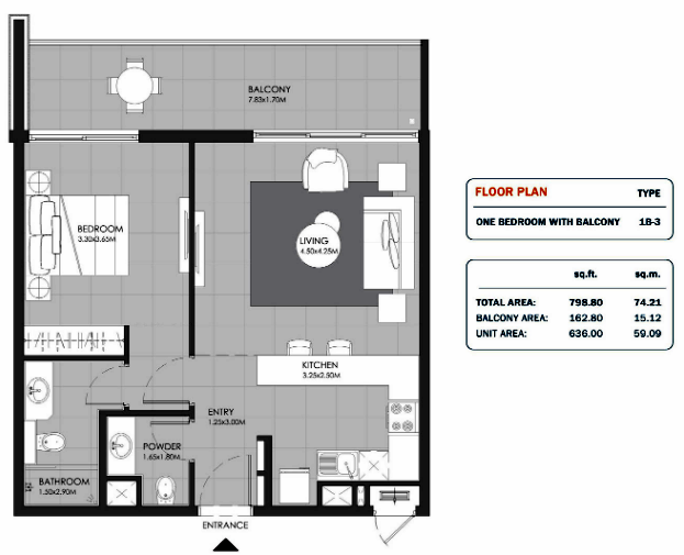 Planning of the apartment 1BR, 798.8 in MAG Eye Apartments, Dubai