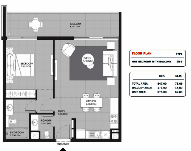 Planning of the apartment 1BR, 847 in MAG Eye Apartments, Dubai