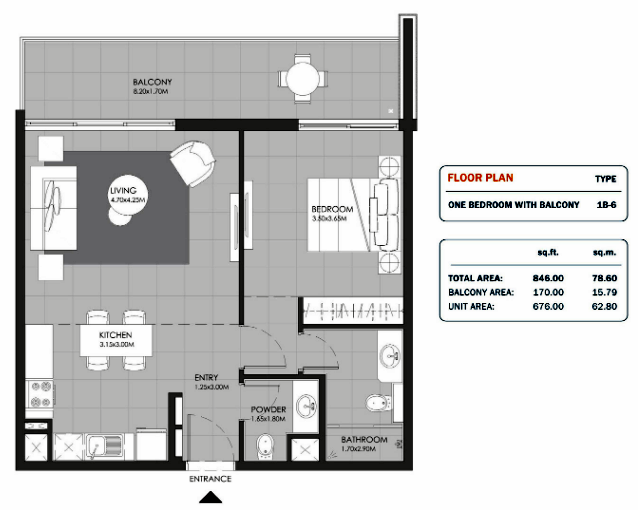 Planning of the apartment 1BR, 846 in MAG Eye Apartments, Dubai