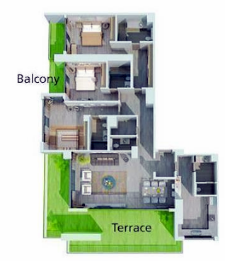 Planning of the apartment 3BR, 2869 in MBL Residence, Dubai