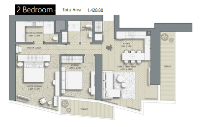 Planning of the apartment 2BR, 1428.8 in The Address Residences Dubai Opera, Dubai