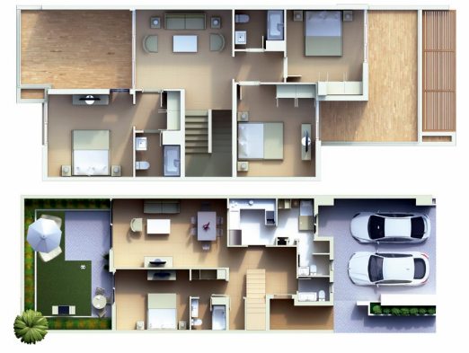 Planning of the apartment Villas 4BR, 2787 in Cassia Townhouses, Dubai