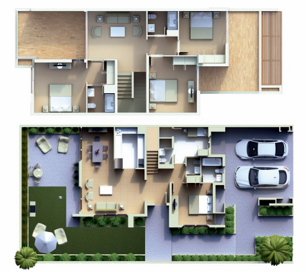 Planning of the apartment Villas 4BR, 3185 in Cassia Townhouses, Dubai