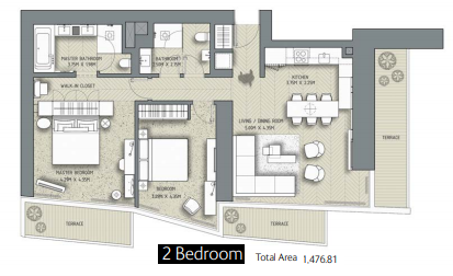 Planning of the apartment 2BR, 1476.81 in The Address Residences Dubai Opera, Dubai