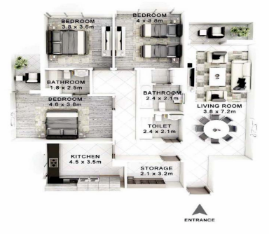 Planning of the apartment 3BR, 1600 in Janayen Avenue, Dubai