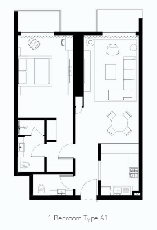 Planning of the apartment 1BR, 911 in Naples Giovanni Boutique Suites, Dubai