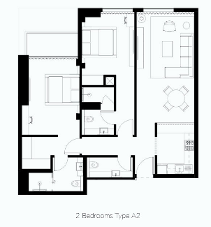 Planning of the apartment 2BR, 1239 in Naples Giovanni Boutique Suites, Dubai