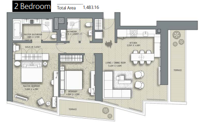 Planning of the apartment 2BR, 1483.16 in The Address Residences Dubai Opera, Dubai