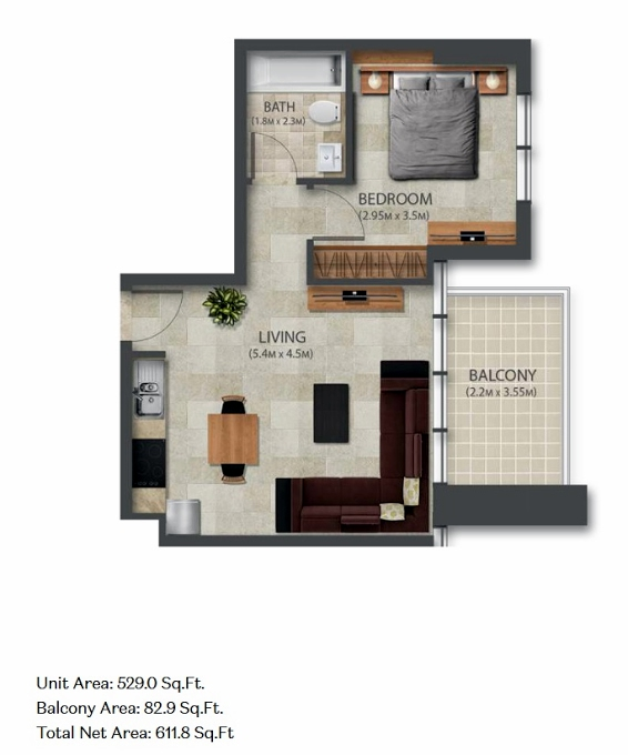Planning of the apartment 1BR, 529 in Murano Residences, Dubai