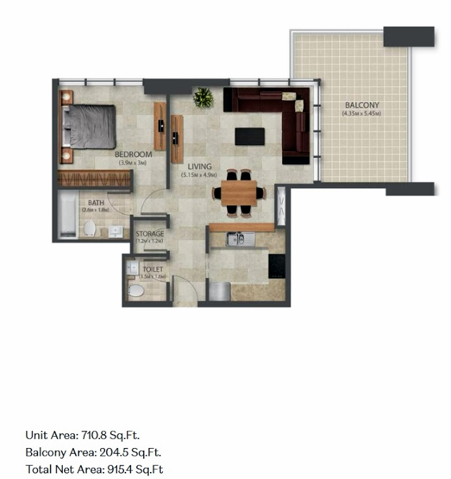 Planning of the apartment 1BR, 710.8 in Murano Residences, Dubai