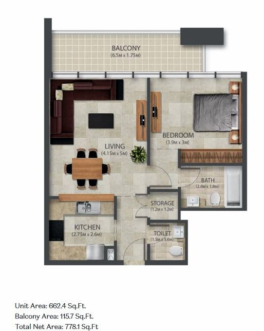 Planning of the apartment 1BR, 662.4 in Murano Residences, Dubai
