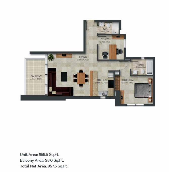 Planning of the apartment 1BR, 859.5 in Murano Residences, Dubai