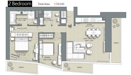 Planning of the apartment 2BR, 1533.43 in The Address Residences Dubai Opera, Dubai