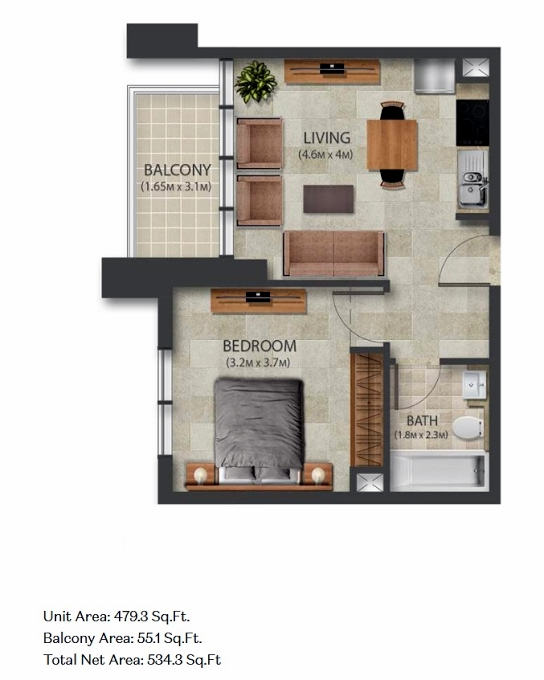 Planning of the apartment 1BR, 479.3 in Murano Residences, Dubai