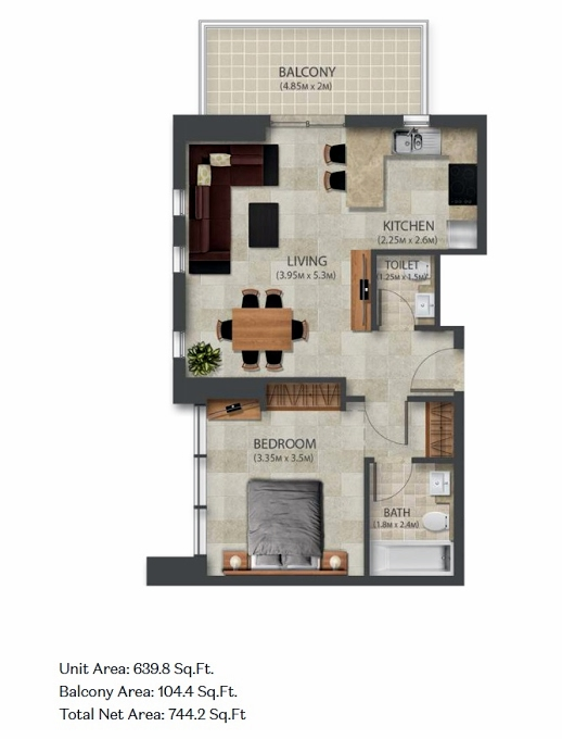 Planning of the apartment 1BR, 639.8 in Murano Residences, Dubai