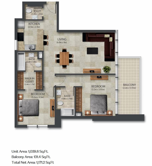 Planning of the apartment 2BR, 1039.8 in Murano Residences, Dubai