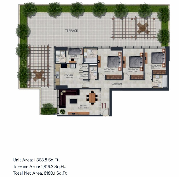 Planning of the apartment 3BR, 1363.8 in Murano Residences, Dubai