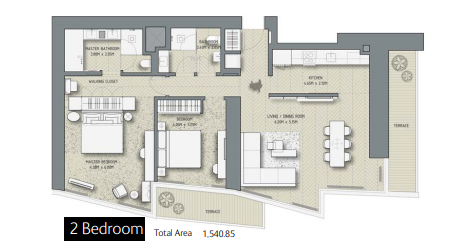 Planning of the apartment 2BR, 1540.85 in The Address Residences Dubai Opera, Dubai