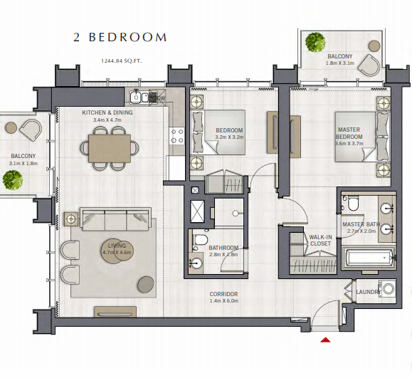 Planning of the apartment 2BR, 1244.84 in The Grand, Dubai