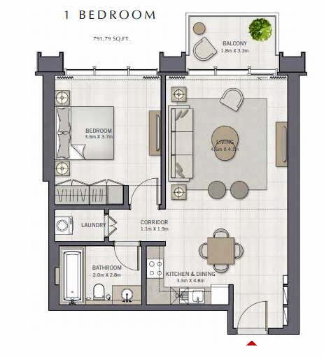 Planning of the apartment 1BR, 791.79 in The Grand, Dubai