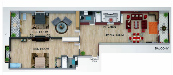 Planning of the apartment 2BR, 1303 in Uniestate Prime Tower, Dubai