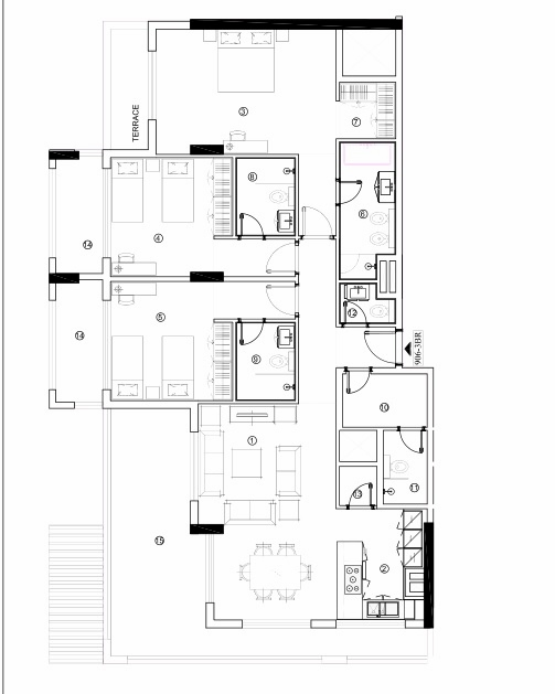Planning of the apartment 3BR, 1702.65 in Avenue Residence 4, Dubai