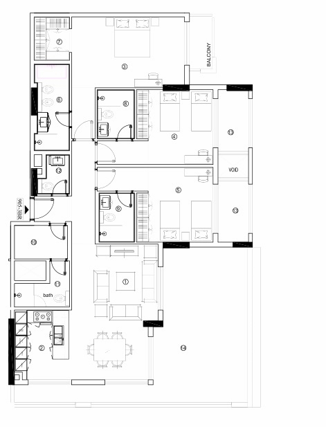Planning of the apartment 3BR, 1693.61 in Avenue Residence 4, Dubai