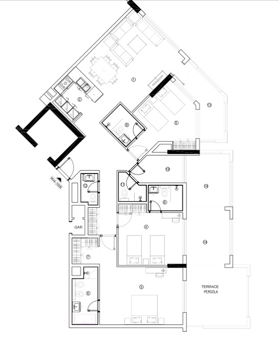 Planning of the apartment 3BR, 1782.41 in Avenue Residence 4, Dubai