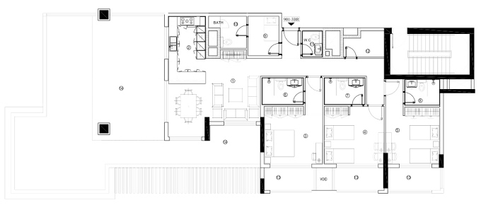 Planning of the apartment 3BR, 1681.34 in Avenue Residence 4, Dubai