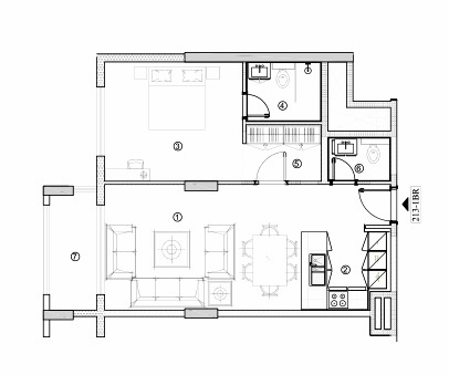 Planning of the apartment 1BR, 769.95 in Avenue Residence 4, Dubai