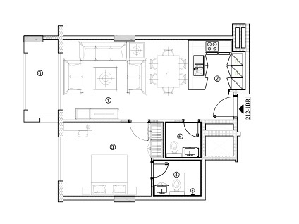 Planning of the apartment 1BR, 724.52 in Avenue Residence 4, Dubai