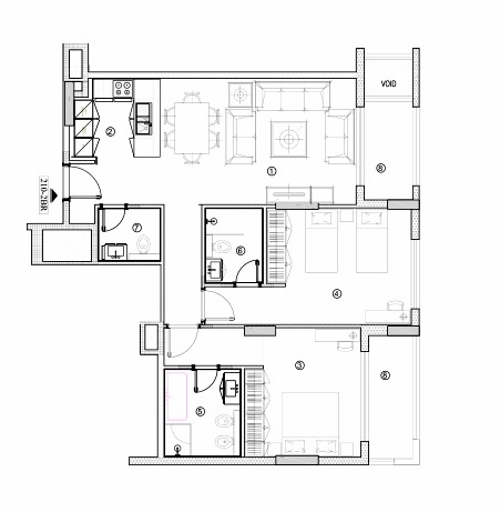 Planning of the apartment 2BR, 1131.19 in Avenue Residence 4, Dubai