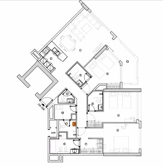 Planning of the apartment 3BR, 1687.15 in Avenue Residence 4, Dubai
