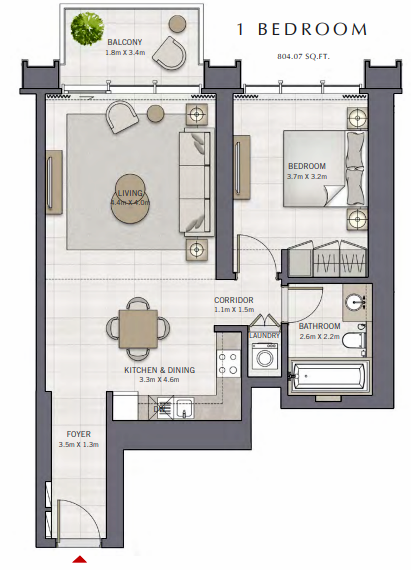 Planning of the apartment 1BR, 804.07 in The Grand, Dubai