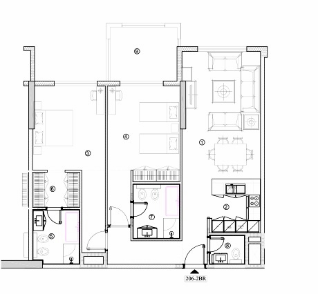 Planning of the apartment 2BR, 1265.52 in Avenue Residence 4, Dubai