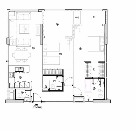 Planning of the apartment 2BR, 1215.26 in Avenue Residence 4, Dubai