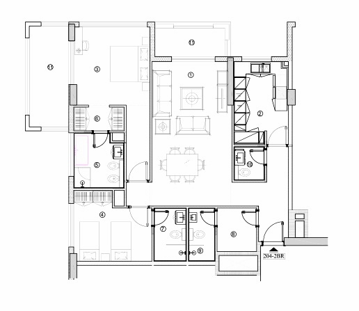 Planning of the apartment 2BR, 1316.22 in Avenue Residence 4, Dubai