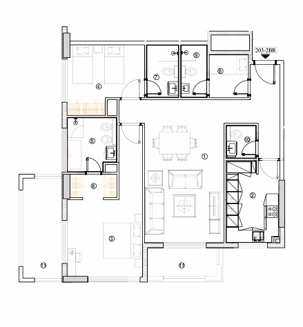 Planning of the apartment 2BR, 1317.94 in Avenue Residence 4, Dubai